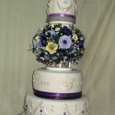Purple And White ... Wedding Cake
