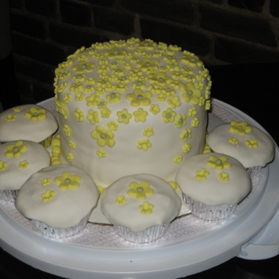 Yellow Flower Cake With Cupcakes