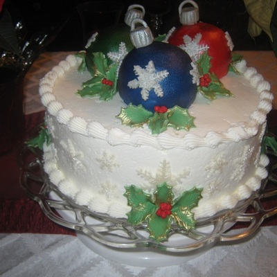 Christmas Cake With Mini Ball Ornaments