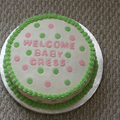 Pink/green Polka Dot Baby Shower on Cake Central