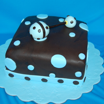 Blue And Brown Baby Shower Rattle Cake