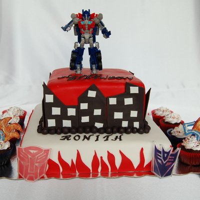 Two Tiered Transformer Cake