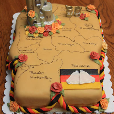 Bridal Shower Cake In The Shape Of Germany