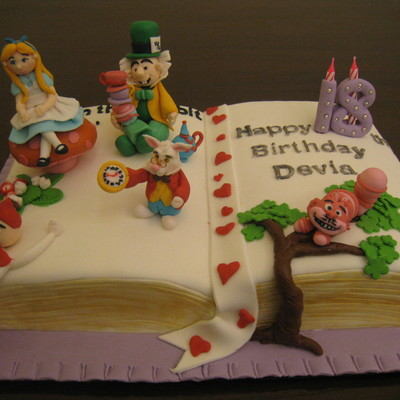 "Pop- Up ""alice In Wonderland"" Storybook Cake"