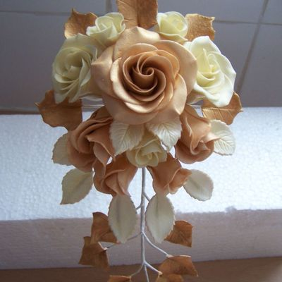 Gold And Cream Wedding Bouquet on Cake Central