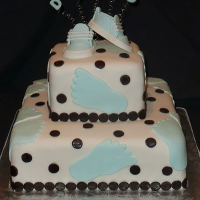 Baby Boy Footprints Shower Cake
