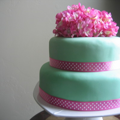 Pretty Pink And Green Birthday Cake