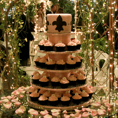 Wedding Cupcake Tower Pink&black