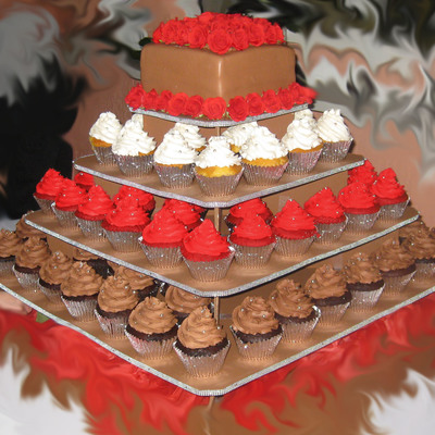 Black White And Red Cupcake Tree