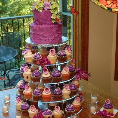 Sangria Butterfly Lily And Roses Wedding Cupcake Tower