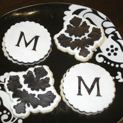 Black And White Damask/monogram Cookies