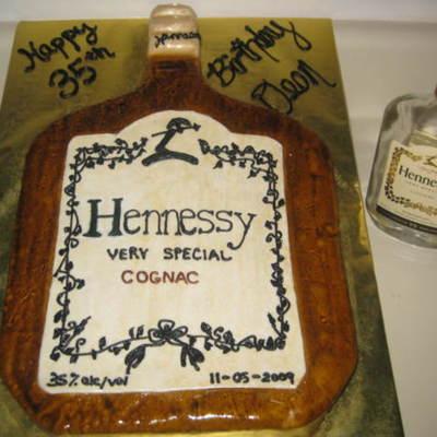 Hennessy Bottle Birthday Cake - CakeCentral.com