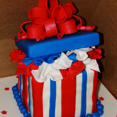 4Th Of July Gift Box Cake