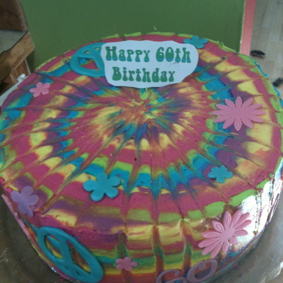 Tie Dye 60Th Birthday Cake