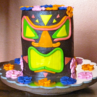 Hawaiian Tiki God Father's Day Cake