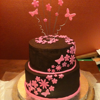 Pink & Brown Butterfly Flower Baby Shower Cake
