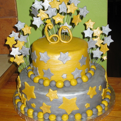 Silver And Gold Stars 60Th Birthday Cake