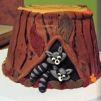 New Home Raccoon Tree Stump Cake
