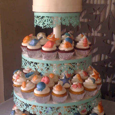Sea Shells Cupcake Tower on Cake Central