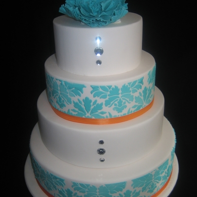 Blue Damask With Orange And A Little Bit Of Bling