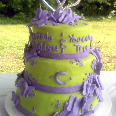 Lime Green & Purple Butterfly Wedding Cake on Cake Central
