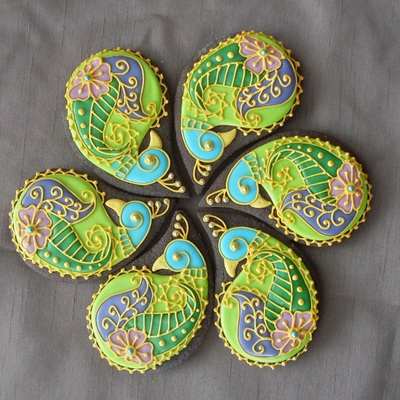 Peacock Paisley Cookies on Cake Central