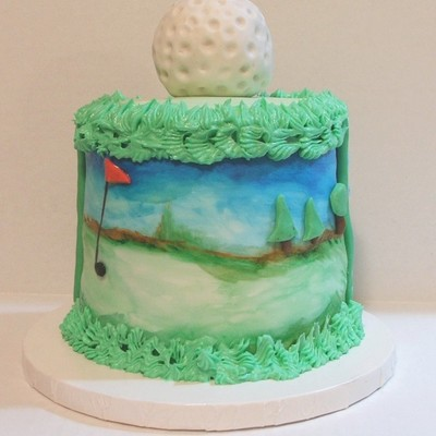 Golf Ball Cake With Handpainted Golf Course on Cake Central