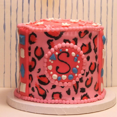 Pink Leopard Cake With Chocolate Jewels