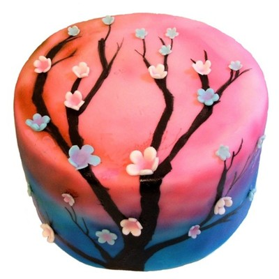 Pink And Blue Airbrushed Cherry Blossom Cake