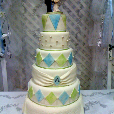 Blue Green Wedding Cake