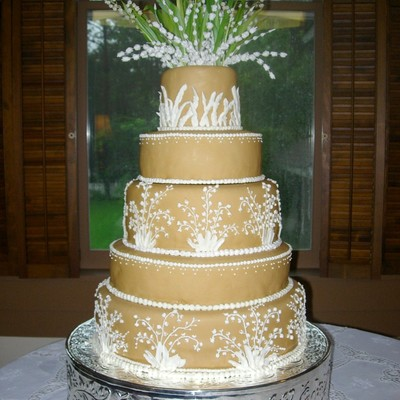 Caramel Lily Of The Valley Wedding Cake on Cake Central