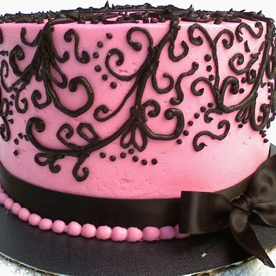 Pink Black Scroll Birthday Cake
