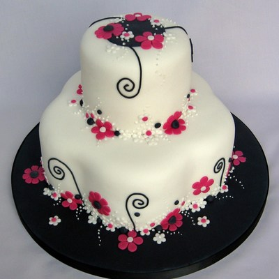 Pink Black White Flowery Birthday Cake on Cake Central