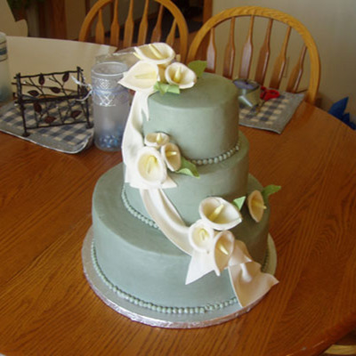 Sage Green With Ivory Calla Lillies And Drape