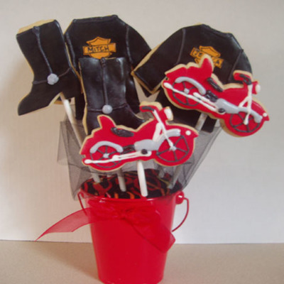 Harley Theme Cookie Bouquet