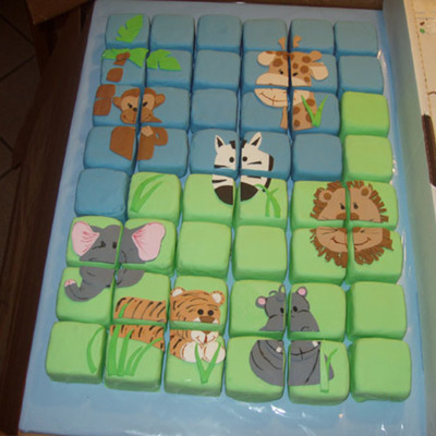 Jungle Theme Baby Shower Mini Puzzle Cake