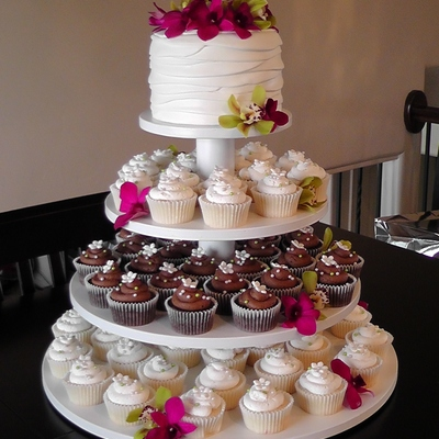 Orchid Wedding Cupcake Tower on Cake Central