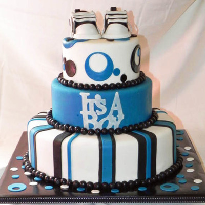 Blue/black/white Baby Shower Cake