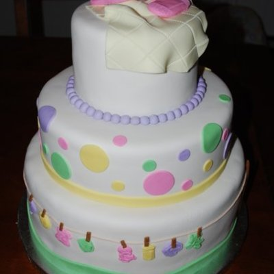 Clotheline Baby Shower Cake