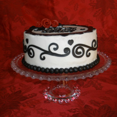 Black, White, Red Birthday Cake