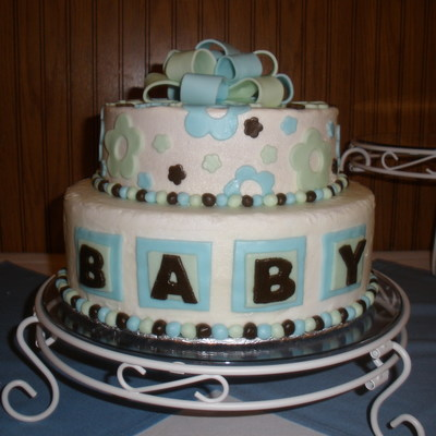 Blue, Green And Brown Baby Shower Cake