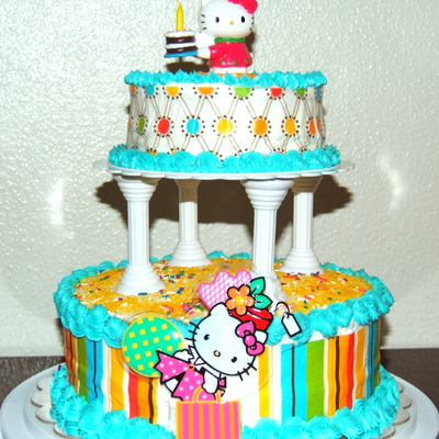 Striped Birthday Cake With Hello Kitty Accents