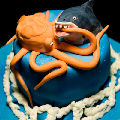 Mega Shark Vs. Giant Octopus Cake
