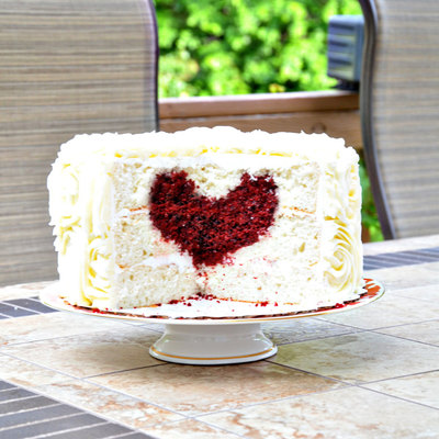 Rose Cake With Heart Inside!