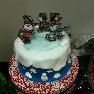 Peanuts Gang Ice Skating Snowscape Cake