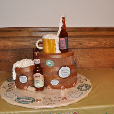 Beer And Barrel 40Th B-Day Cake!!! :)
