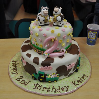 Whimsical Cow And Tractor Cake!