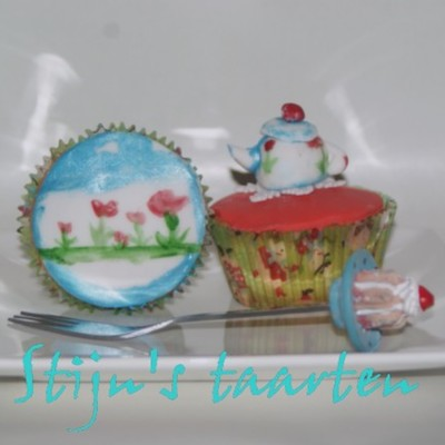 Cup Of Tea With A Cup Cake.