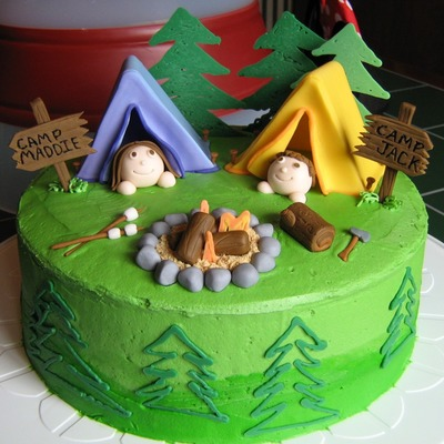 Cake For A Camp Out Themed Party