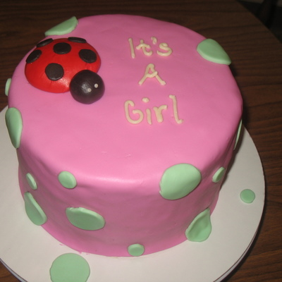 Ladybug And Polka Dots Baby Shower Cake